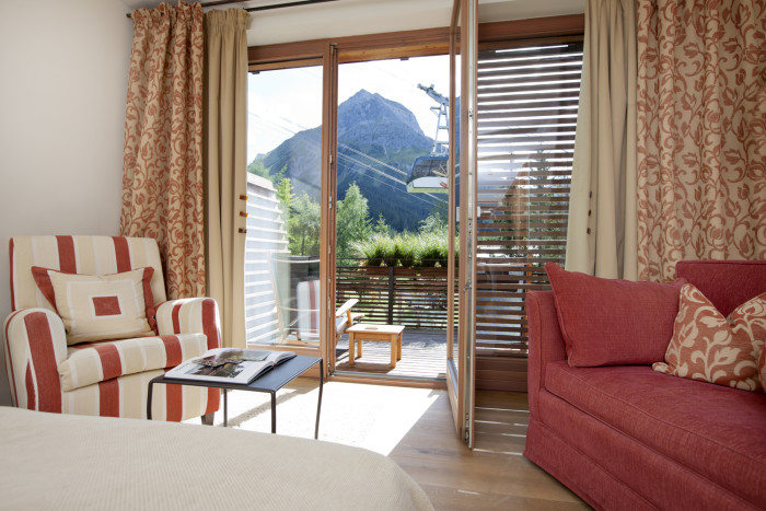 Aussicht Zimmer Hasenfluh/Seekopf im Berghof, Lech